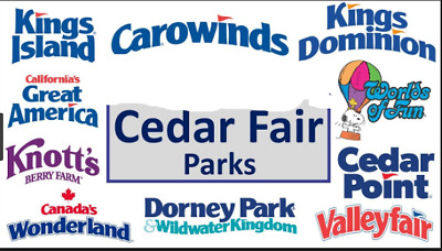 Two e-tickets to any Cedar Fair Amusement Parks - Cedar Point, Knott's Berry etc