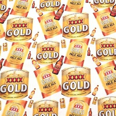 Fabric Xxxx Gold Beer Pale Ale Print 100% Cotton 1/2 Yard 1/2 Meter