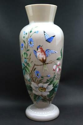 Old Baccarat Opaline Crystal Hand Painted Japanese Style Bird Sculpture Vase EMS