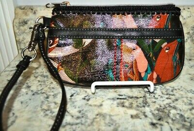 Sakroots Coated Fabric Wristlet Multi Color Wallet Key Chain Artist Circle Birds