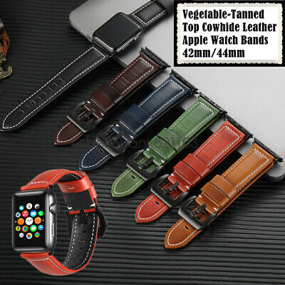 Vegetable-Tanned Leather Apple Watch Band Strap iWatch Series 5 4 3 42mm 44mm