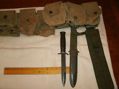 US Army Marine WW2 WW II M 23 CARTRIDGE BELT WITH M3 KNIFE AND POUCHES