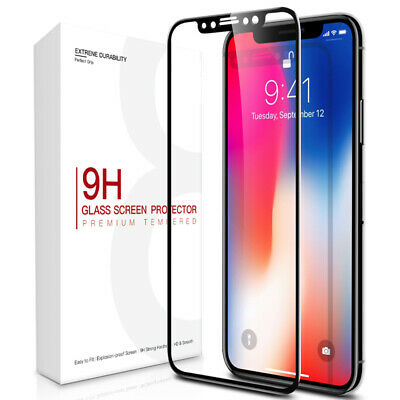 For iPhone X XS 3D Curved Full Coverage Tempered Glass Screen Protector Film US