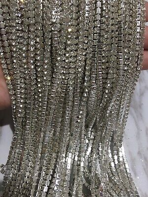 1 Meter clear crystal rhinestone encased Silver metal chain trim 3.3mm Wedding