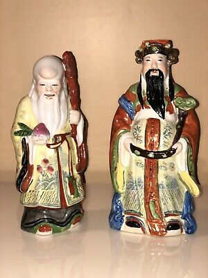 2 Vintage Chinese Oriental Wise Men Porcelain Ceramic Figurine Statues Stamped
