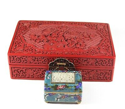 A handmade  mid 20th century  deep carved Chinese cinnabar lacquer box 1119,