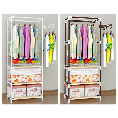 3 Tier Metal Hanging Clothes Holder Organiser Rack Hanger Cabinet Storage Closet