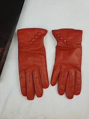 Sermoneta Gloves Red Gloves Size 7 Leather 100% Cashmere Buttons