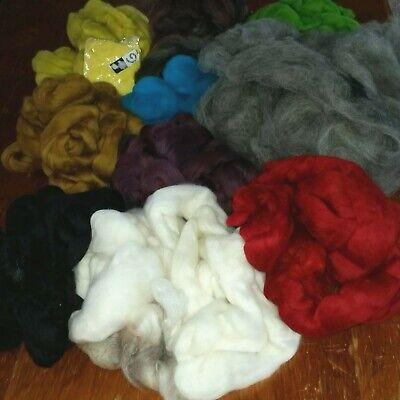694gm soft wool tops and alpaca saddle for spinning & felting. Beautiful.