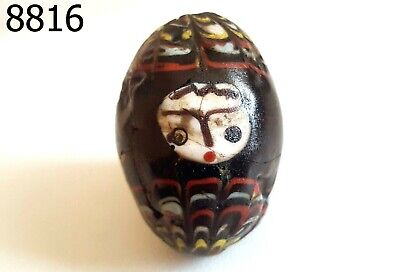 Old Rainbow Feather Art White Face Islamic Paste Mosaic Black Glass Bead #8816