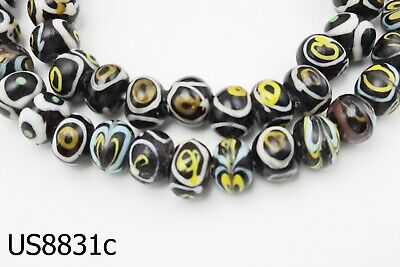 Old Early Islamic Black Mosiac Glass Yellow EYEs Bead Near Eastern Strand #8831