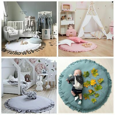 Infant Round Baby Play Mats Soft Cotton Crawling Carpet Round Lace Blanket