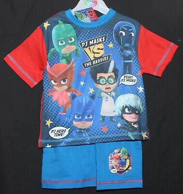 "Boys PJ MASKS ""VS The Baddies"" Summer Pyjamas /Shorty PJs  NWT 18 months-5 years"