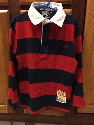 Old Navy Boys Red & Blue Striped Rugby Long Sleeve Polo Shirt Small 6-7