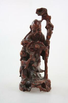 VINTAGE CHINESE HAND CARVED BOX WOOD FIGURAL OF AN OLD MAN with A CHILD
