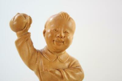 Vintage Chinese Hand Carved Box Wood Figural Of Playful Boy