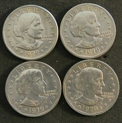 4 X 1979 Susan B Anthony Usa Dollars In Excellent Condition