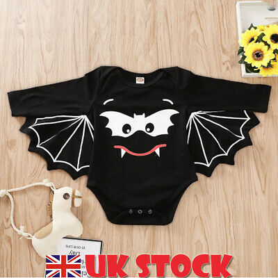 Toddler Baby Boy Girl Kids Bat Wings Cape Romper Halloween Fancy Costume Outfits