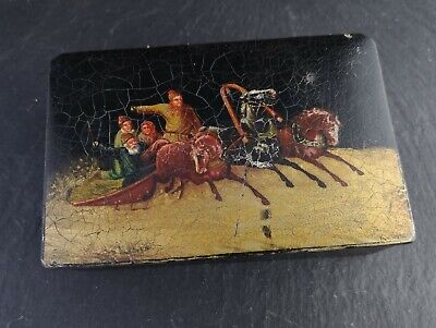Antique Russian lacquer tobacco box, 19th century, troika