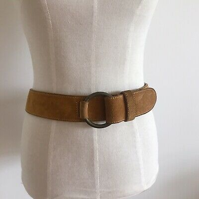 Vintage Leather Suede DKNY tan Belt 90s Made In USA