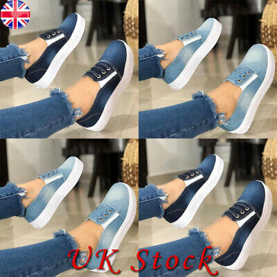 Womens Ladies Slip On Flat Pumps Trainers Denim Canvas Casual Shoes Loafers Work