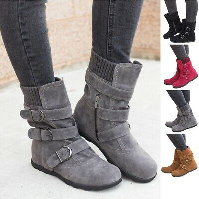 Winter Women's Snow Fur Lined Lace Up Warm Flat High Ankle Boots Round Toe Shoes
