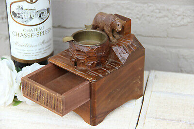 Antique hand Black forest wood carved swiss bear statue  music box ashtray