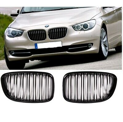 BMW F07 5 Series GT gloss shiney black front kidney grille grilles double spoke
