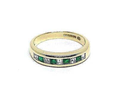 Emeralds Natural Colombian 0.40ct.& Diamonds 0.30ct.Y. Gold18k. UK Ring Size N