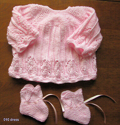 BABY PINK  HAND  KINTTED  DRESS SET 0 to 3 months  DRESS and BOOTIES NEW
