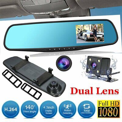"Truck Bus Caravan 1080P Camera 4.3"" Rear view Mirror Digital Recorder Dual Lens"