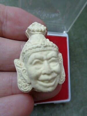 Old  Thai Buddha  Lersi Monk Head  Amulet / Charm Original Temple Case
