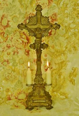Stunning Antique French Gilded Church Altar Cross / Crucifix With Candle Holders