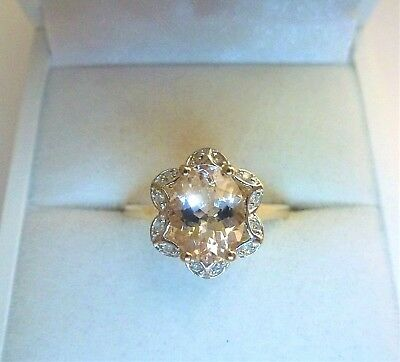 Sparkling 1.51 ct Natural Oval Cut Morganite&Diamond 10K Yellow Gold Ring Size 8