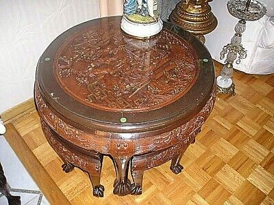 Antique ASIAN ORIENTAL 3D carved ball claw table gold leaf 3 stools PICK UP ONLY