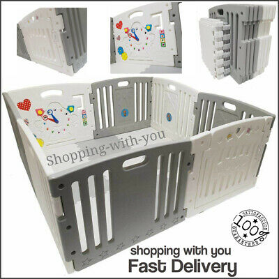 Child Baby Children Kid Wooden Playpen Play Pen Room Divider 8 Sided With Gate.