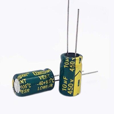 20 x 450V 10uF Radial Electrolytic Capacitors For PCB/LCD Mount 105°C 10x17mm