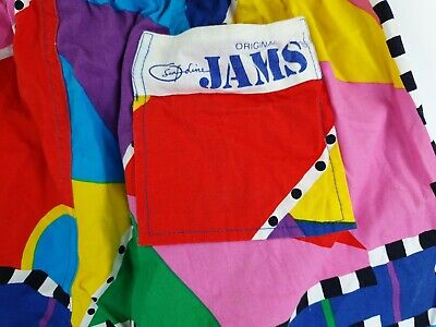 Vintage Surfline Jams Mens Abstract Swim Shorts Sz M USA Made 80's