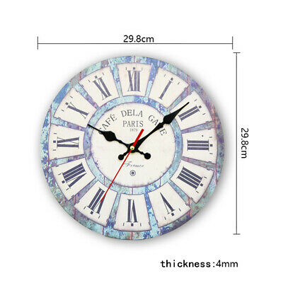Wooden Wall Clock Shabby Chic Rustic Kitchen Home Antique Style Vintage Good
