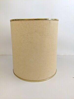 Vintage retro mid century modern mcm Barrel drum table Lamp Shade gold trim