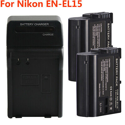 EN-EL15 Battery w/ Charger For Nikon D600 D610 D750 D800 D850 D7500 D7000 MH-25