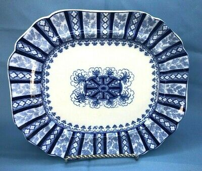 Antique Cauldon England Flow Blue Oval Platter Corinthian Flute 19th Century 12""