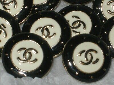 CHANEL 5 AUTHENTIC off white BLACK  gold cc 16 MM BUTTONS THIS IS FOR 5