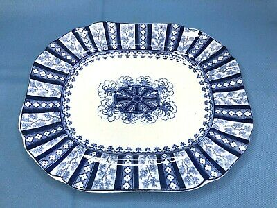 Antique Cauldon England Flow Blue Oval Platter Corinthian Flute 19th Century 10""