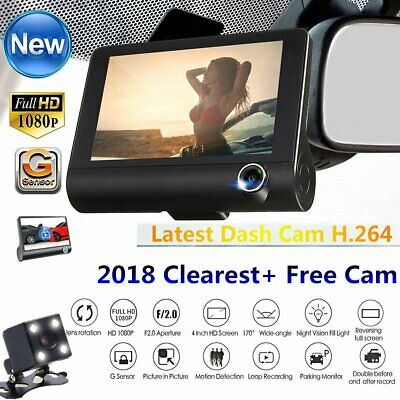 "1pc 3 Lens 4"" HD 170° Car Dash G-sensor Recorder Rear view Reversing Camera Kit"