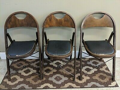 3 Antique 1920s Vintage Solid Kumfort Louis Rastetter & Sons Wood Folding Chairs