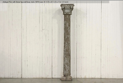 """116.5"""" TALL 1820, RARE PAIR of TEAK  Colonial Columns Reeded Solid Wood & Stone"""