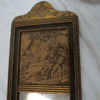 vintage old wall mirror gold gilded wood & tapestry w/ needlepoint art top clean