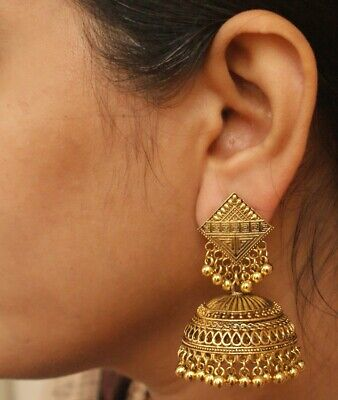 Indian Bollywood Gold Jhumka Vintage Long Earrings Ethnic Bridal Jewelry Set G1