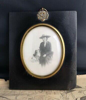 Antique Victorian miniature ebony frame, lady and dog photograph
